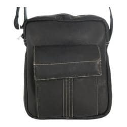 David King Leather 8468 Deluxe Medium Messenger with Flap Black