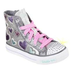 Girls' Skechers Twinkle Toes Shuffles Starlet Pose High Top Silver/Multi