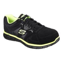 Men's Skechers Work Relaxed Fit Synergy Ekron Alloy Toe Lace Up Black/Lime