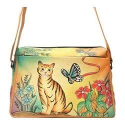 Women's ANNA by Anuschka Hand Painted Medium Satchel Organizer 8076 Cat