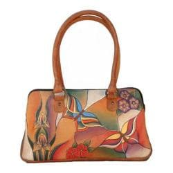 Women's ANNA by Anuschka Large Multi Compartment Satchel 8038 Butterfly Glass Painting