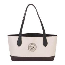 Women's BUCO Handbags Color Block Small Pinwheel Tote KE-20920 Black/Brown/Bone