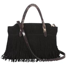 Women's BUCO Handbags Fringe Tote LL-2969 Black