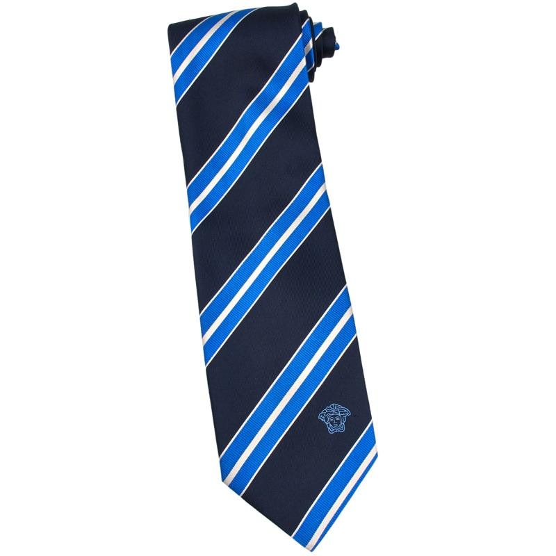 Versace 100-percent Italian Silk Black Blue/ White Stripe Neck Tie