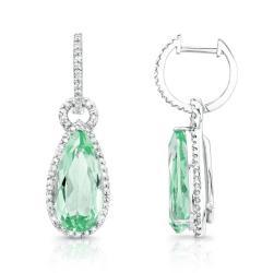 14kt Gold & Diamond Pear Shaped Halo Earrings with Gemstone Dangling Drops (I-J, I1-I2)