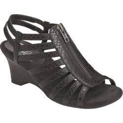 Women's Aerosoles Half Dozen Sandal Black Lizard Embossed Faux Leather