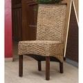 International Caravan 'Bunga' Hyacinth Dining Chairs with Mahogany Frame and Rattan Trim (Set of 2)