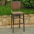 International Caravan Barcelona Resin Wicker Outdoor Bar Height Chairs with Aluminum Frame (Set of 2)