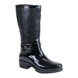 Women's Reneeze Rain-02 Glossy Reptile Rain Boot Black PU