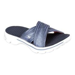 Women's Skechers GOwalk 3 Mellow Slide Sandal Navy/White