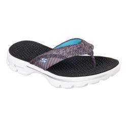 Women's Skechers GOwalk 3 Pizazz Thong Sandal Black/White