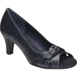 Women's A2 by Aerosoles Brain Power Peep Toe Pump Navy Faux Leather