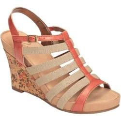 Women's A2 by Aerosoles Magic Plush Wedge Sandal Peach Faux Leather