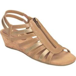 Women's A2 by Aerosoles Yetaway Wedge Sandal Tan and Gold Faux Leather