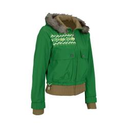 Women's Fila U86394 Reversible Hooded Parka Emerald/Multi