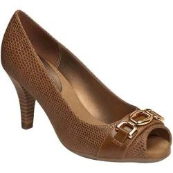 Women's Aerosoles Good Lux Peep Toe Pump Dark Tan Snake Faux Leather