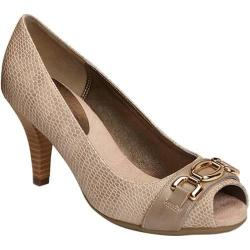 Women's Aerosoles Good Lux Peep Toe Pump Taupe Snake Faux Leather