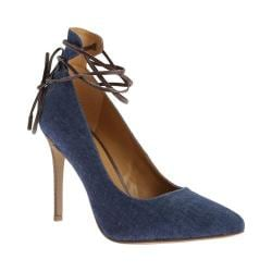 Women's Nine West Ebba Lace up Pump Blue/Dark Brown Fabric