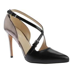 Women's Nine West Earnest Strappy Heel Black/Pewter Leather