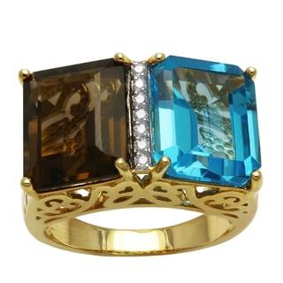 14k Yellow Gold 1/14ct TDW Diamonds, Blue Topaz and Smokey Quartz Ring (H-I, SI2-I1) 14718988