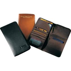 Millennium Leather Airline Ticket/Passport Case Black Florentine Napa Leather