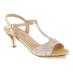 Women's Fabulicious Audrey 05 T-Strap Sandal Nude Shimmering Fabric 17176427