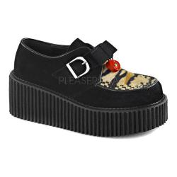 Women's Demonia Creeper 213 Creeper Black Vegan Suede/Tiger Print Faux Fur