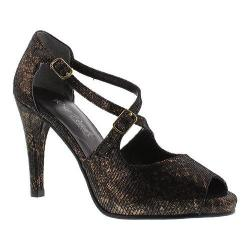 Women's Rose Petals by Walking Cradles Lissa Ankle Strap Sandal Black/Bronze Lizard Print