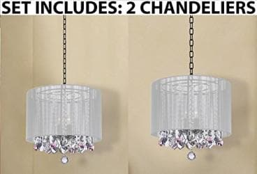 Set of 2 - Crystal Chandeliers Chandelier With Large White Shade and Pink Cry...