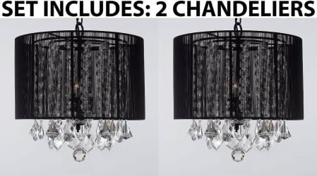 "Set of 2 - Crystal Chandeliers Chandelier With Large Black Shade! H15"" x W15"""