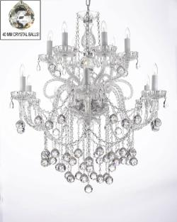 "Chandelier Lighting Crystal Chandeliers With Crystal Balls! H38"" X W32"""