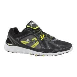Men's Fila Memory Retribution Running Shoe Black/Dark Silver/Safety Yellow