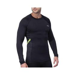 Men's Fila Endurance Long Sleeve Compression Tee Black/Safety Yellow