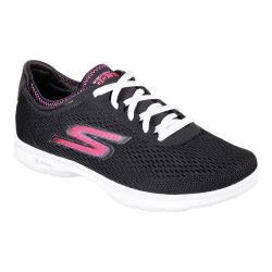 Women's Skechers GO STEP Sport Lace Up Shoe Black/White/Pink
