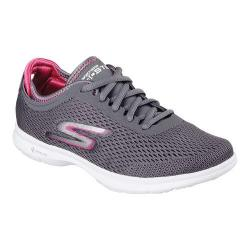 Women's Skechers GO STEP Sport Lace Up Shoe Charcoal/Hot Pink