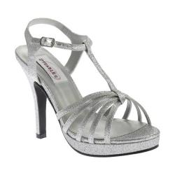 Women's Dyeables Kaylee T-Strap Platform Sandal Silver Glitter