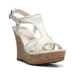 Women's Fergalicious Kailyn T Strap Sandal Cream Fabric