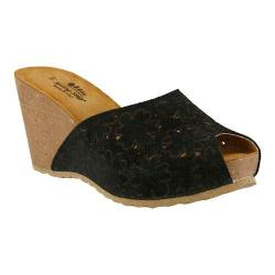 Women's Spring Step Bojana Wedge Sandal Black Suede