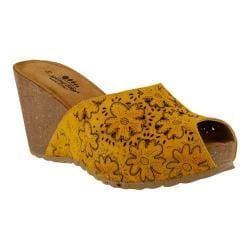 Women's Spring Step Bojana Wedge Sandal Yellow Suede