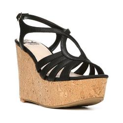 Women's Fergalicious Roxine Sandal Black Synthetic Leather/Cork