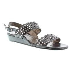 Women's Rose Petals by Walking Cradles Jolie Quarter Strap Sandal Black Kid/Silver Metallic