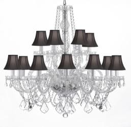 "Crystal Chandelier Chandeliers Lighting With Black Shades! H 38"" x W 37"""
