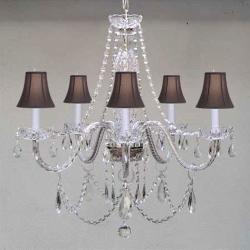 New! MURANO VENETIAN STYLE AUTHENTIC ALL CRYSTAL CHANDELIER LIGHTING W/ BLACK SHADES
