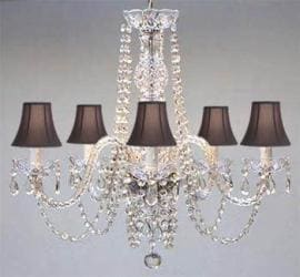 AUTHENTIC ALL CRYSTAL CHANDELIER WITH BLACK SHADES!