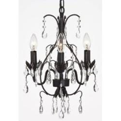 "New! CHANDELIER WROUGHT IRON CRYSTAL CHANDELIERS H18"" X W14"" SWAG PLUG IN-CHANDELIER"