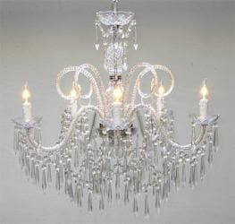 "New! Murano Venetian Style All Crystal Chandelier H25"" x W24"""