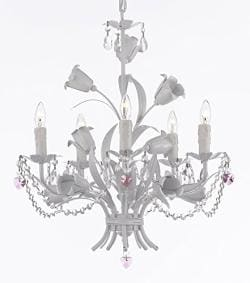 White Wrought Iron Floral Chandelier Empress Crystal (tm) with Pink Crystal Hearts - Perfect for Kid's and Girls Rooms !