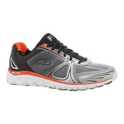 Men's Fila Memory Solidarity Running Shoe Metallic Silver/Black/Red Orange