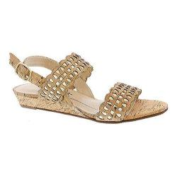 Women's Rose Petals by Walking Cradles Jolie Quarter Strap Sandal Gold Cork/Gold Metallic