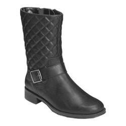 Women's Aerosoles Bridesmaid Boot Black Quilted Faux Leather